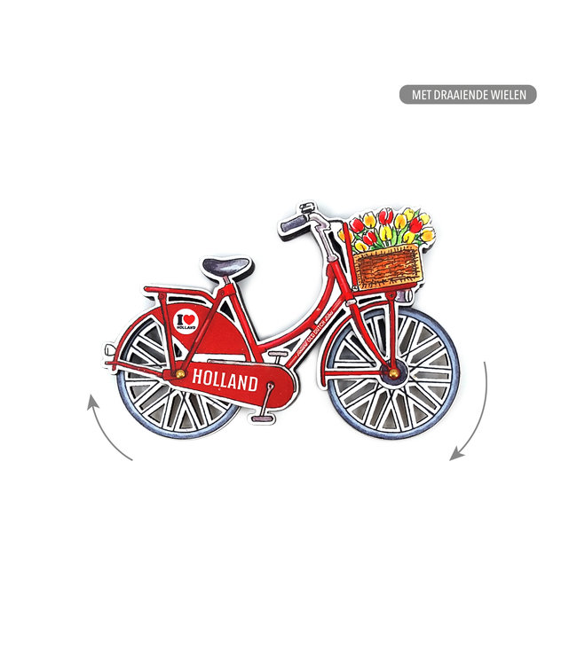 12 stuks MDF Holland fiets rood draaiende wielen