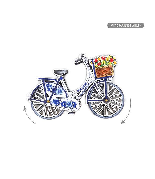 12 stuks MDF Holland fiets Delftsblauw draaiende wielen