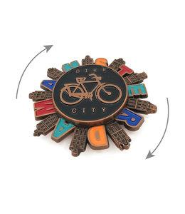 12 stuks magneet metaal spinner Amsterdam bike city koper