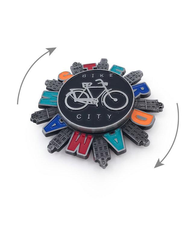 12 stuks magneet metaal spinner Amsterdam bike city tin