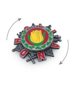 12 stuks magneet metaal spinner Holland tulp tin