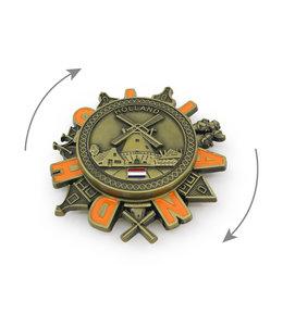 12 stuks magneet metaal spinner Holland molen brons