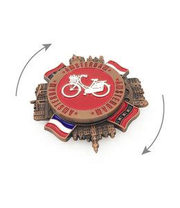 12 stuks magneet metaal spinner Amsterdam witte fiets koper