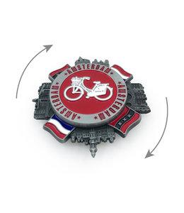 12 stuks magneet metaal spinner Amsterdam witte fiets tin