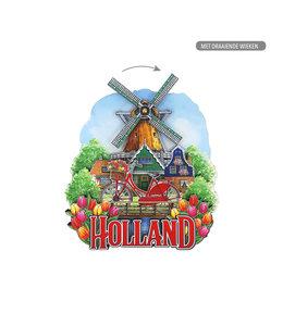 12 stuks MDF Holland fiets molen met draaiende wiek