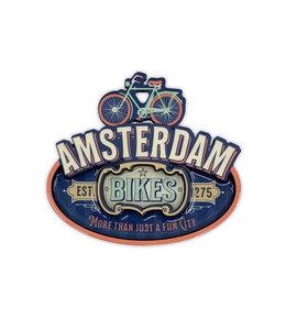 12 stuks MDF vintage Amsterdam bikes blue