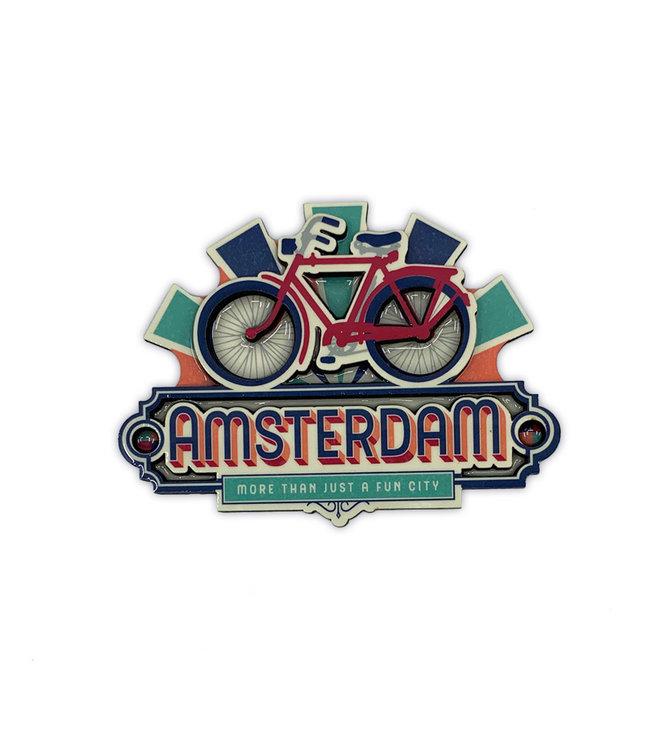 12 stuks MDF vintage Amsterdam Bike Fun City