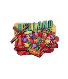 12 stuks MDF vintage Holland tulpen