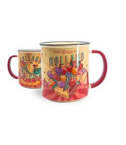 Vintage beker Holland tulpen/fiets geel