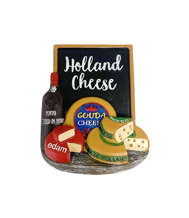 12 stuks 3D magneet wine & cheese/kaas Holland