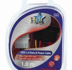 HQ SATA 3.0 Data & Power Kabel 1.0m