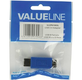 Value Line Valueline USB B (F) naar USB Micro B (M) adapter