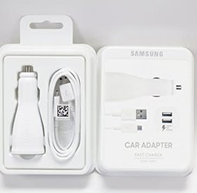Samsung Samsung Car Adapter Dual Fast Charger USB C, 5V 2A White / Samsung Dubbele Auto Snel Lader USB C 5V 2A Wit