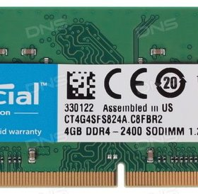 Cruicial 4 GB DDR4 SoDimm Ramgeheugen 2400 Mhz voor laptop CT4G4SFS824A