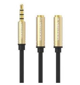 vention Vention Jack 3,5mm naar 2x jack 3,5mm kabel 20cm | 3Rings (met mogelijkheid tot mic)