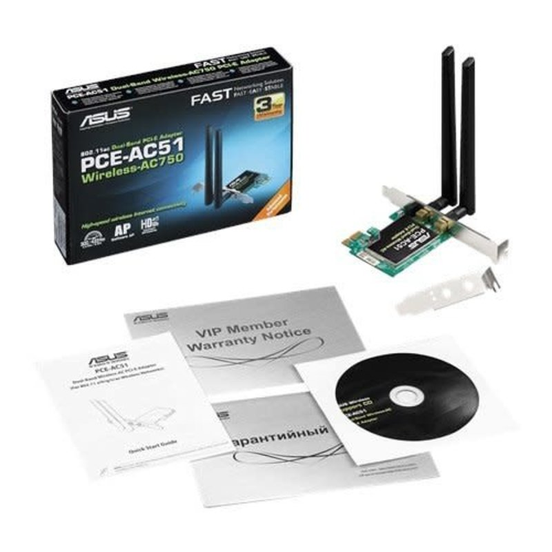Asus PCE-AC514 Wireless AC750 PCI-E wifi adapter inbouw voor PC High en low profile