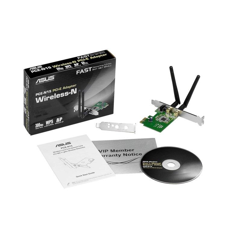 Asus PCE-N15 PCI-E Wireless lan adapter Wifi 2.4 Ghz high en low profile
