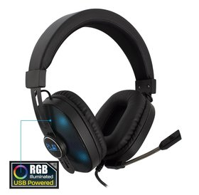 Play PLAY | Gaming Headset RGB| Over Ear Koptelefoon | Nylon kabel | Knoop vrij | 2x Jack 1x USB-A
