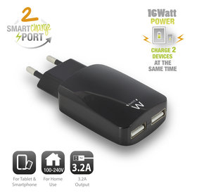 Ewent Ewent | 2-Poorts Smart USB Lader 3.2A