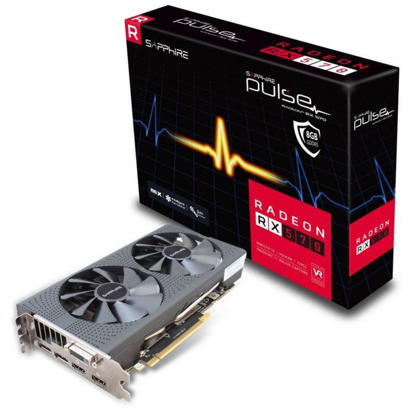 Sapphire Pulse   AMD Radeon RX570   8GB G DDR5   1x DVI   2x HDMI   2x  Displaypoort