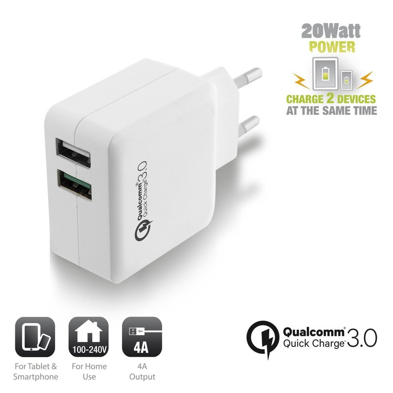 Ewent Ewent | Charger with Qualcomm Quick Charge met 2 USB poorten