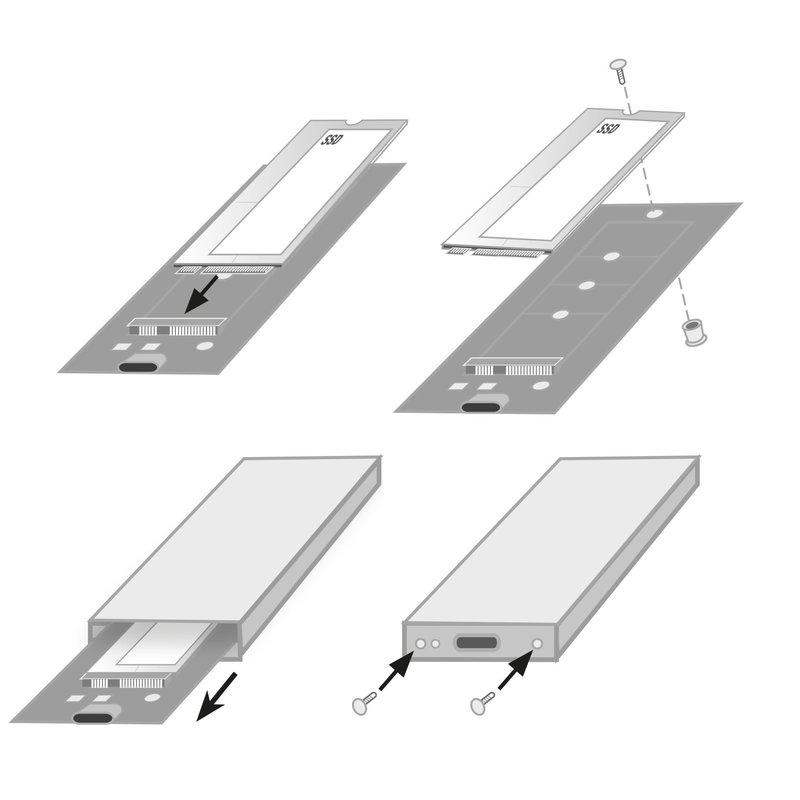 Ewent | USB 3.1 NVMe SSD enclosure Super Speed+ USB-C Gen2 PCI M.2 SSD behuizing