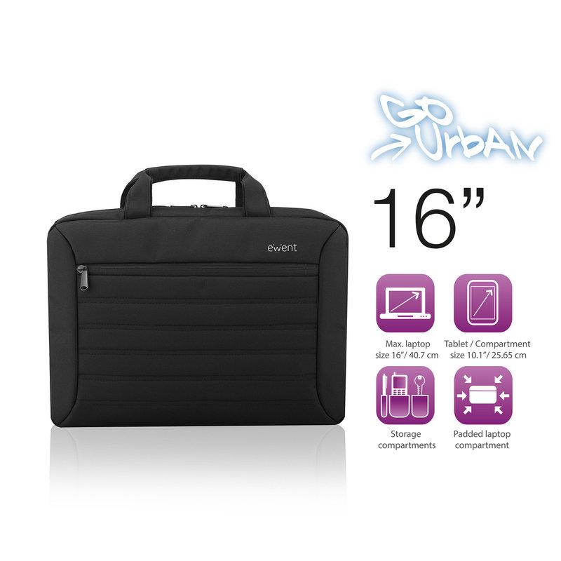 Ewent Ewent   Urban Notebook Tas   16 inch   Zwart   tablet compartiment   water afstotend