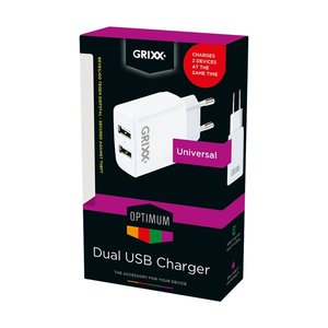 OEM Grixx Optimum Travel Adapter 2 X Usb Universeel