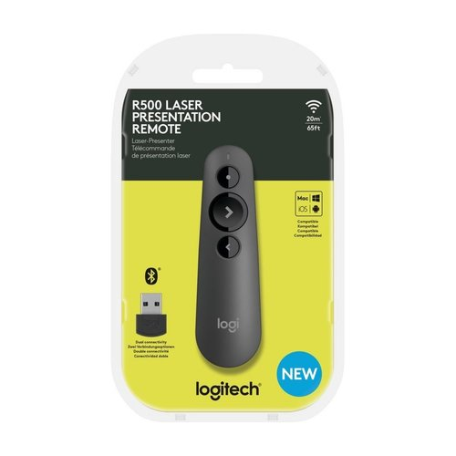 Logitech R500 Draadloze presenter Bluetooth/RF Grafiet