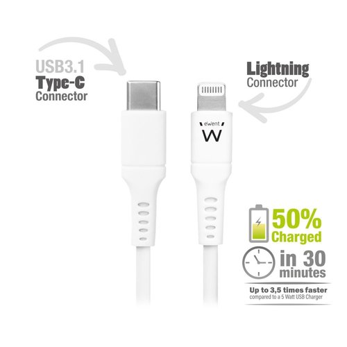 Ewent USB-C Lightning Cable for Apple 1.0M