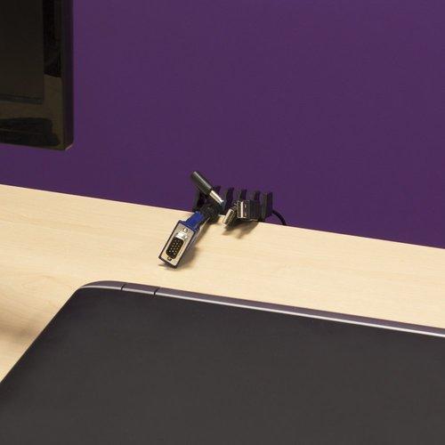 Ewent Desktop cable rack (2 x black)