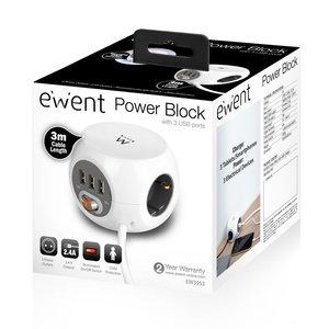 Ewent EW3953 power uitbreiding 3 m 3 AC-uitgang(en) Binnen Wit