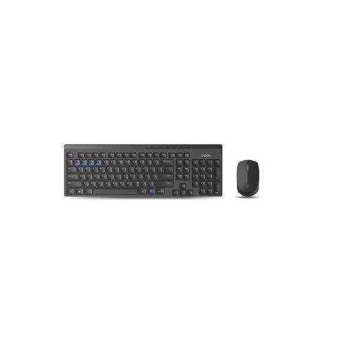 Rapoo 8100M Wireless Keyboard + Mouse Desktopset - Black