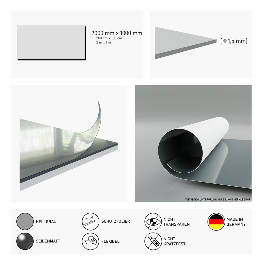 Duschrückwand hellgrau | 200x100 cm