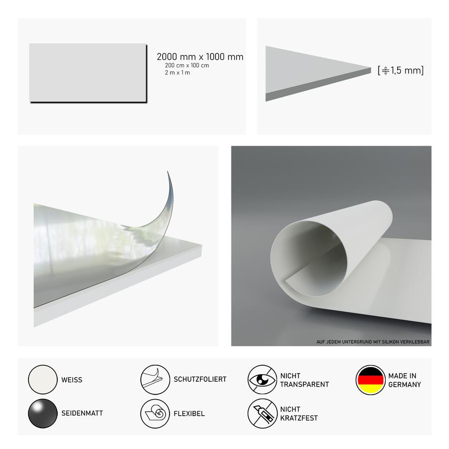 Duschrückwand weiß   200x100 cm