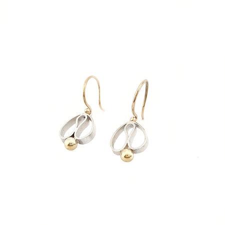 vanNienke Tulp oorhangers Zilver met gouden oorhaken en bolletjes