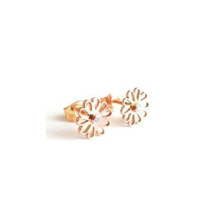 vanNienke Rose gouden 'Kaatje' oorstekers met diamant