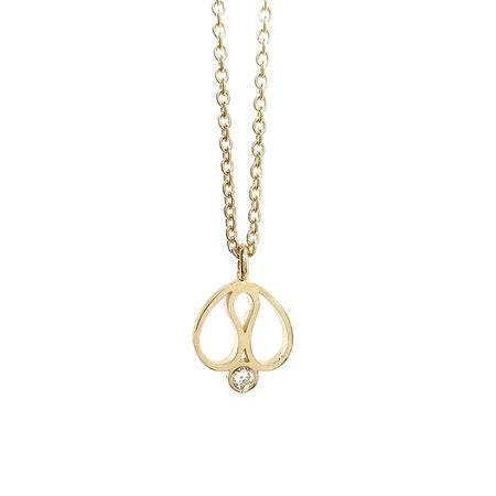 vanNienke Deal, gouden oorhangers en collier met diamant