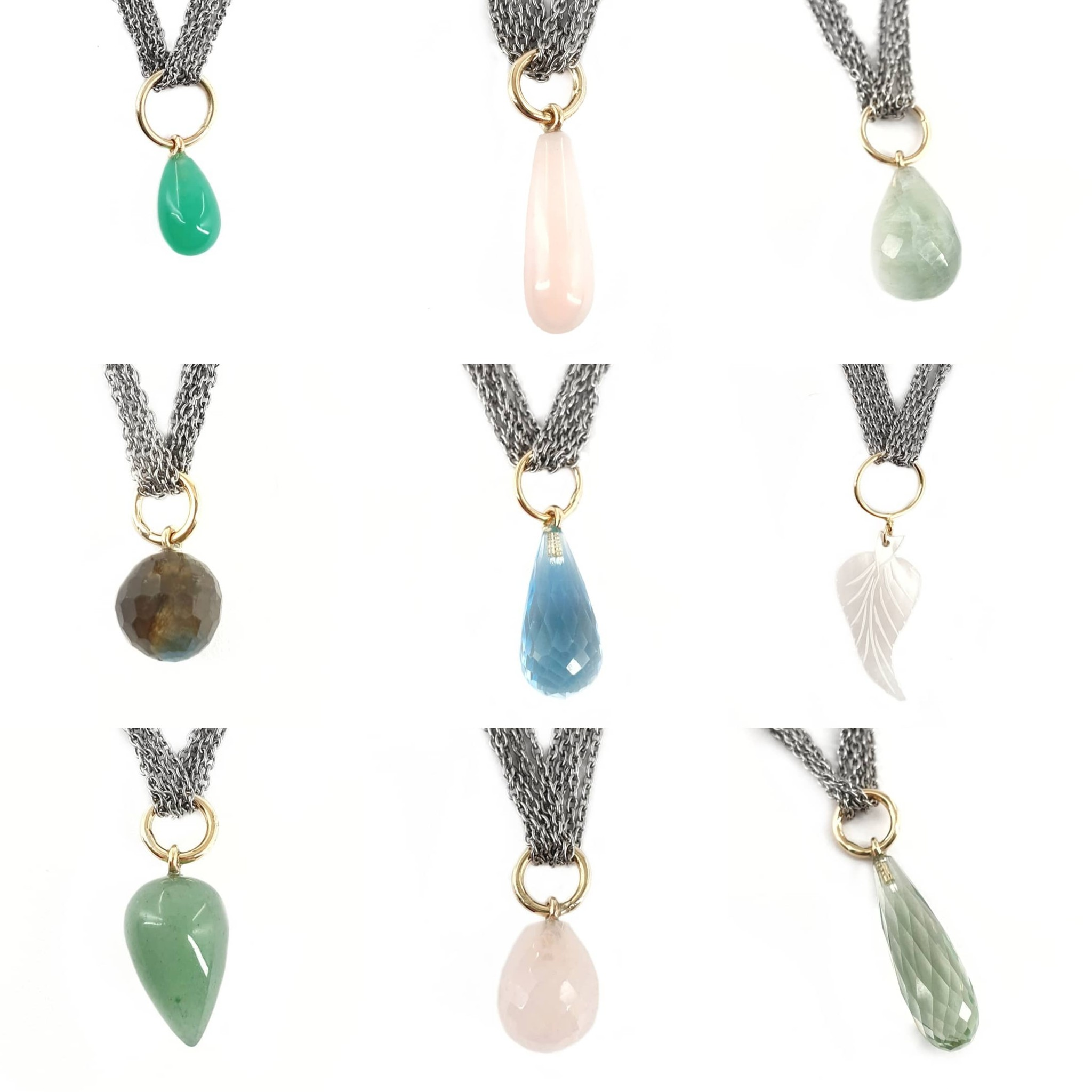 G.S.E. Pendants stones and pearls