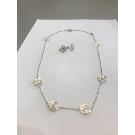 vanNienke Zilveren ankerketting collier met 7 bloemen
