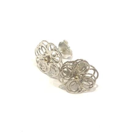 vanNienke Spirografisch 2D zilveren oorstekers met gouden stekers