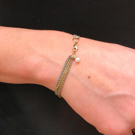 vanNienke G.S.E. Armband 1 x geel gouden gourmet schakel ketting en 4 edelstaal ankerketting met gouden sluiting