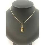 vanNienke Gouden collier met citrien hanger en diamant