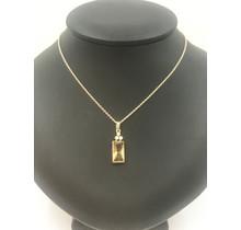 Gouden collier met citrien hanger en diamant