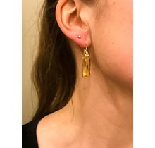 14kt gouden oorhangers met citrien en diamant