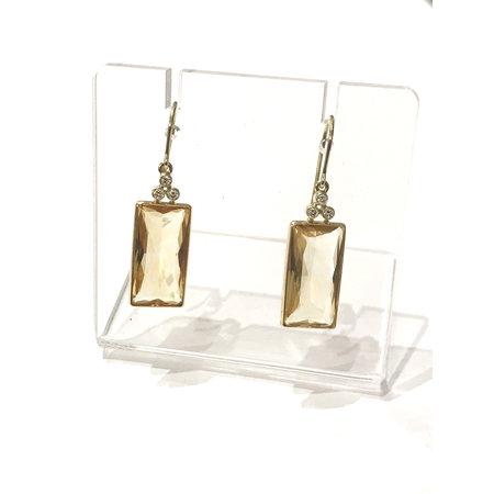 vanNienke 14kt gouden oorhangers met citrien en diamant