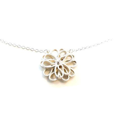 vanNienke Collier bloem (3-5 klein) wit goud, 45cm 1,3mm anker