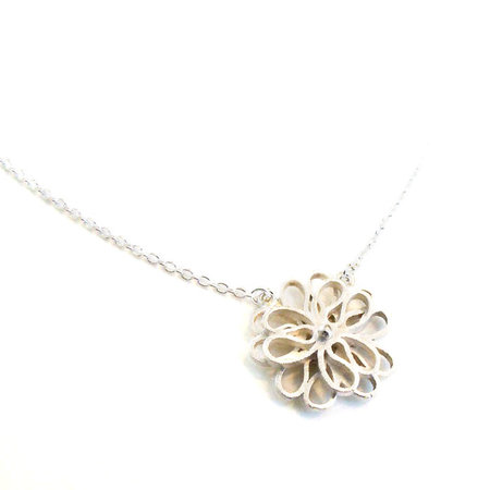 vanNienke Collier bloem (3-3 klein) wit goud, 45cm 1,3mm anker