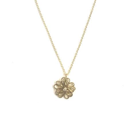 vanNienke Collier bloem (3-3 klein) geel goud, 45cm 1,3mm anker, 2,0VSI F/G diamant
