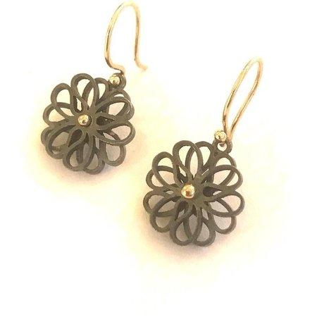 vanNienke Oorhangers (3-3 klein) zilver zwart met gouden haak